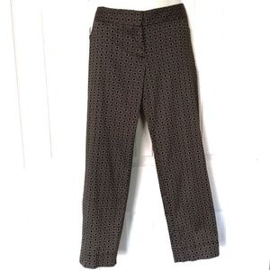 Laundry black & tan geometric pattern ankle pants